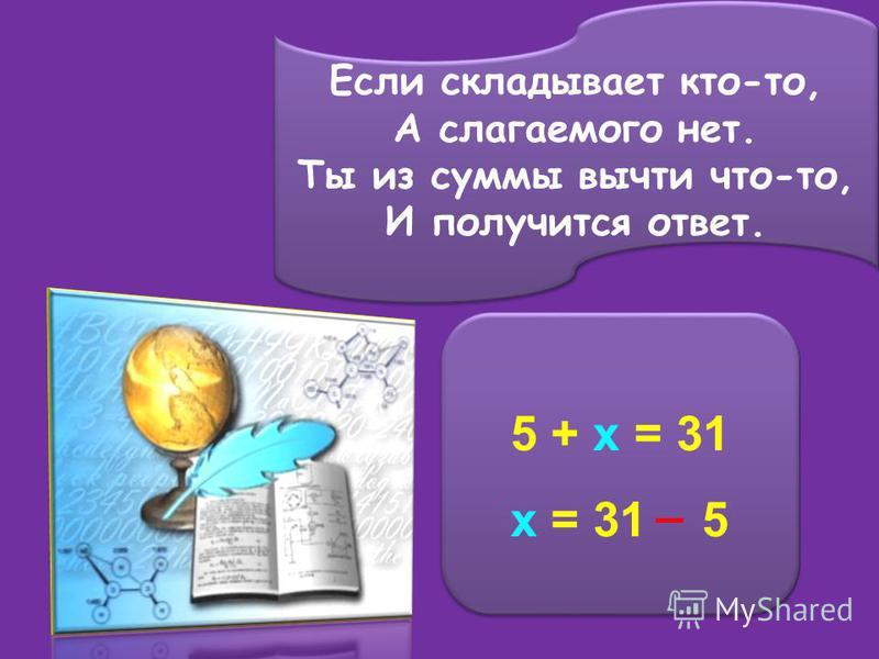Если складывает кто-то, А слагаемого нет. Ты из суммы вычти что-то, И получится ответ. Если складывает кто-то, А слагаемого нет. Ты из суммы вычти что-то, И получится ответ. 5 + x = 31 x = 31 5 5 + x = 31 x = 31 5 _