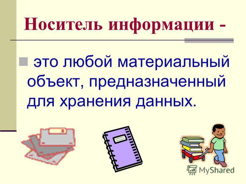 Носитель информации - это любой материальный объект, предназначенный для хранения данных.