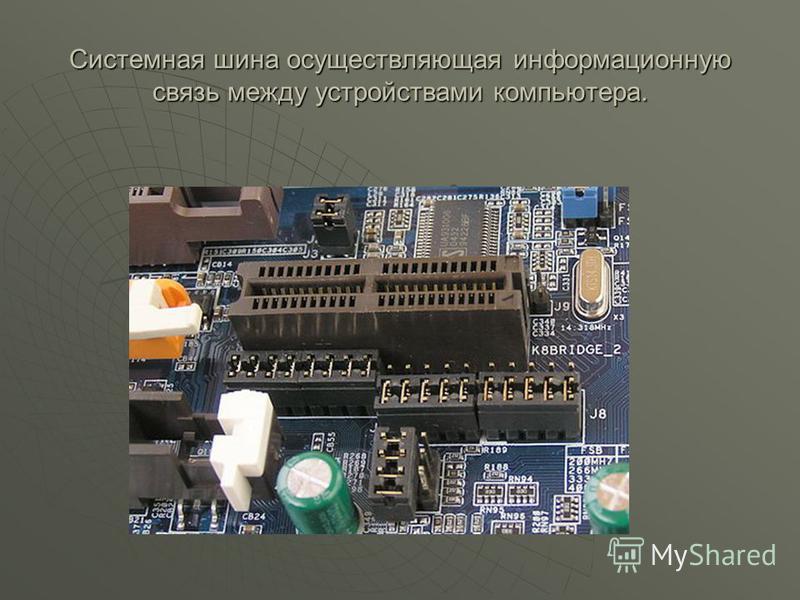 Системная шина осуществляющая информационную связь между устройствами компьютера.