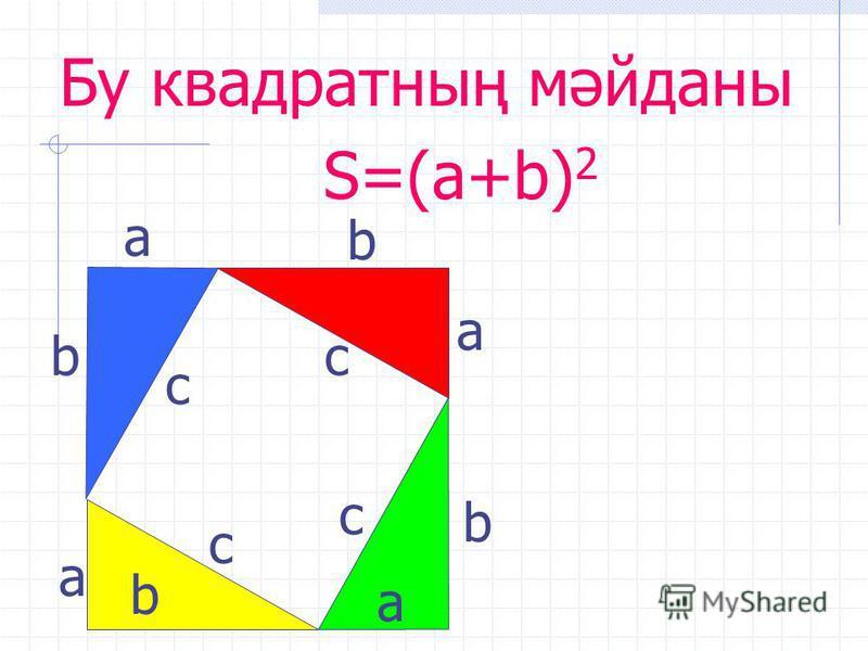 с а b с с с b b b а а а Бу квадратның мәйданы S=(a+b) 2