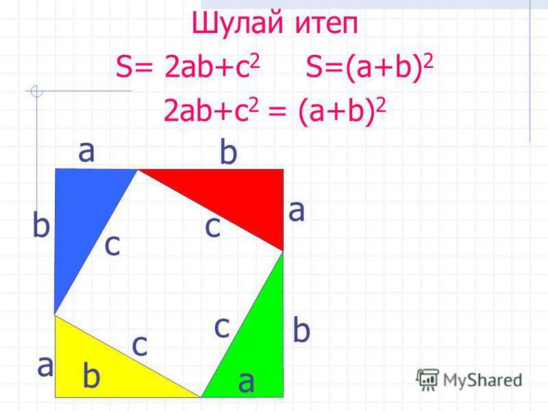 с а b с с с b b b а а а Шулай итеп S= 2ab+c 2 S=(a+b) 2 2ab+c 2 = (a+b) 2