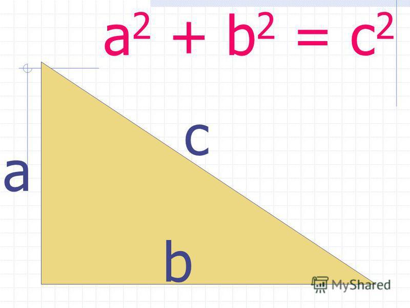a 2 + b 2 = c 2 с а b