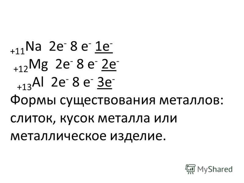 +11 Na 2 е - 8 е - 1 е - +12 Mg 2 е - 8 е - 2 е - +13 Al 2 е - 8 е - 3 е - Формы существования металлов: слиток, кусок металла или металлическое изделие.