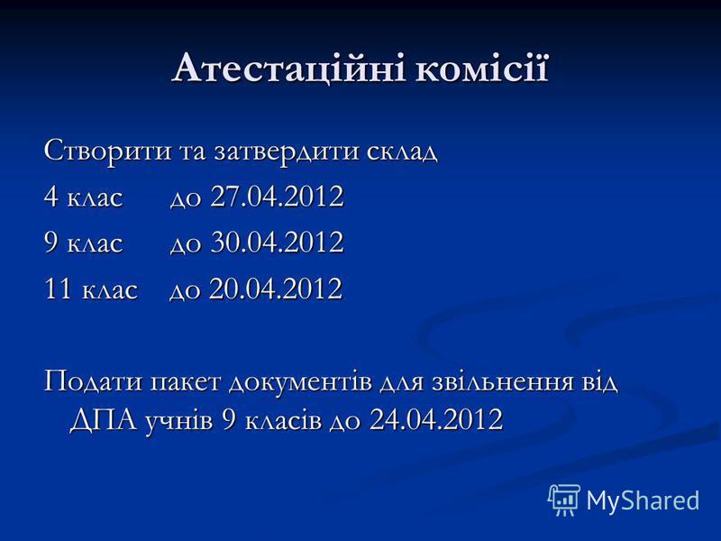 Атестаційні комісії Створити та затвердити склад 4 клас до 27.04.2012 9 клас до 30.04.2012 11 клас до 20.04.2012 Подати пакет документів для звільнення від ДПА учнів 9 класів до 24.04.2012