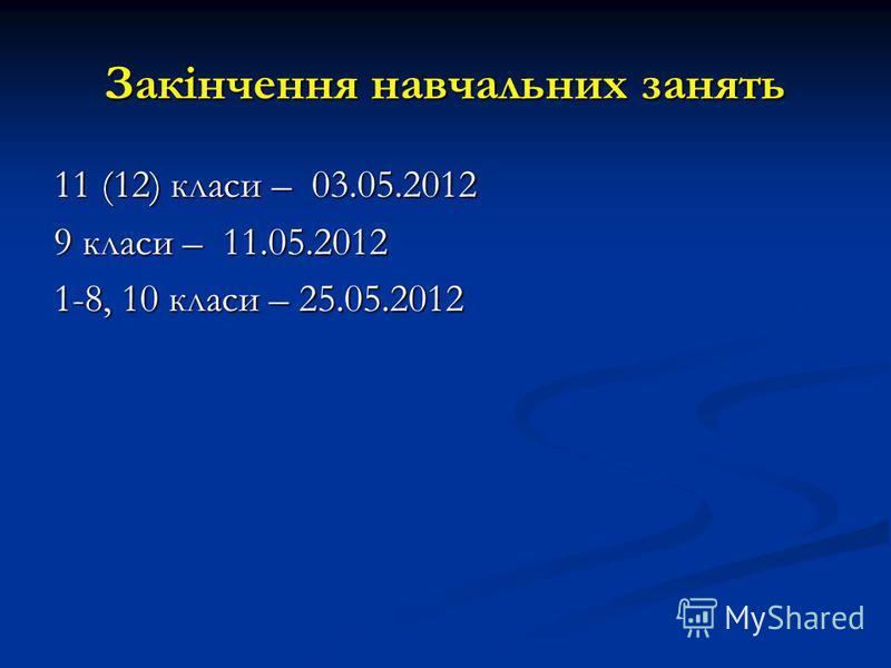 Закінчення навчальних занять 11 (12) класи – 03.05.2012 9 класи – 11.05.2012 1-8, 10 класи – 25.05.2012