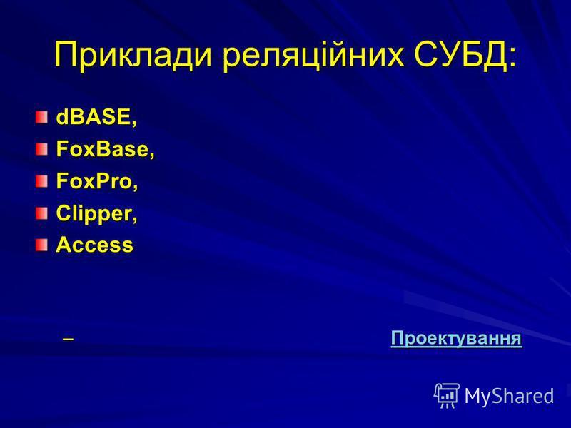 Приклади реляційних СУБД: dBASE,FoxBase,FoxPro,Clipper,Access – Проектування Проектування