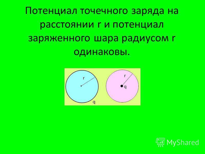 Потенциал точечного заряда на расстоянии r и потенциал заряженного шара радиусом r одинаковы.