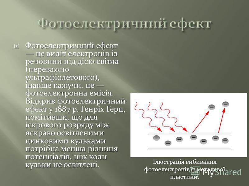 Фотоелектричний ефект це виліт електронів із речовини під дією світла (переважно ультрафіолетового), інакше кажучи, це фотоелектронна емісія. Відкрив фотоелектричний ефект у 1887 р. Генріх Герц, помітивши, що для іскрового розряду між яскраво освітле