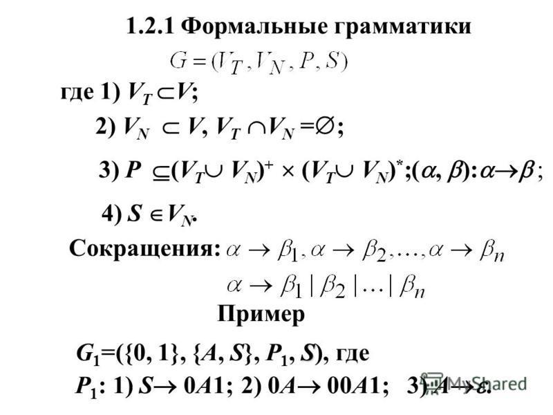 1.2.1 Формальные грамматики где 1) V T V; 2) V N V, V T V N = ; 3) Р (V T V N ) + (V T V N ) * ;(, ): ; 4) S V N. Сокращения: Пример S G 1 =({0, 1}, {A, S}, P 1, S), где Р 1 : 1) S 0A1; 2) 0A 00A1; 3) A.