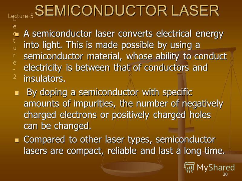 30 SEMICONDUCTOR LASER A semiconductor laser converts electrical energy into light. This is made possible by using a semiconductor material, whose ability to conduct electricity is between that of conductors and insulators. A semiconductor laser conv
