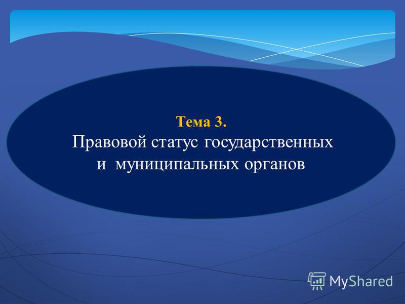 Тема 3. Правовой статус государственных и муниципальных органов