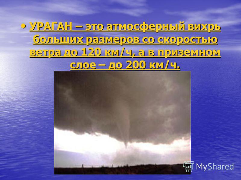 УРАГАН – это атмосферный вихрь больших размеров со скоростью ветра до 120 км/ч, а в приземном слое – до 200 км/ч. УРАГАН – это атмосферный вихрь больших размеров со скоростью ветра до 120 км/ч, а в приземном слое – до 200 км/ч. УРАГАН – это атмосферн