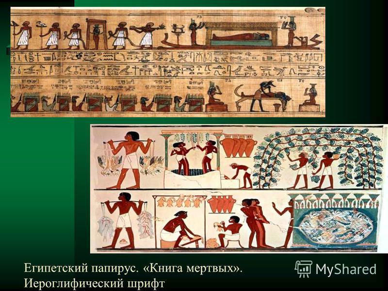 Египетский папирус. «Книга мертвых». Иероглифический шрифт