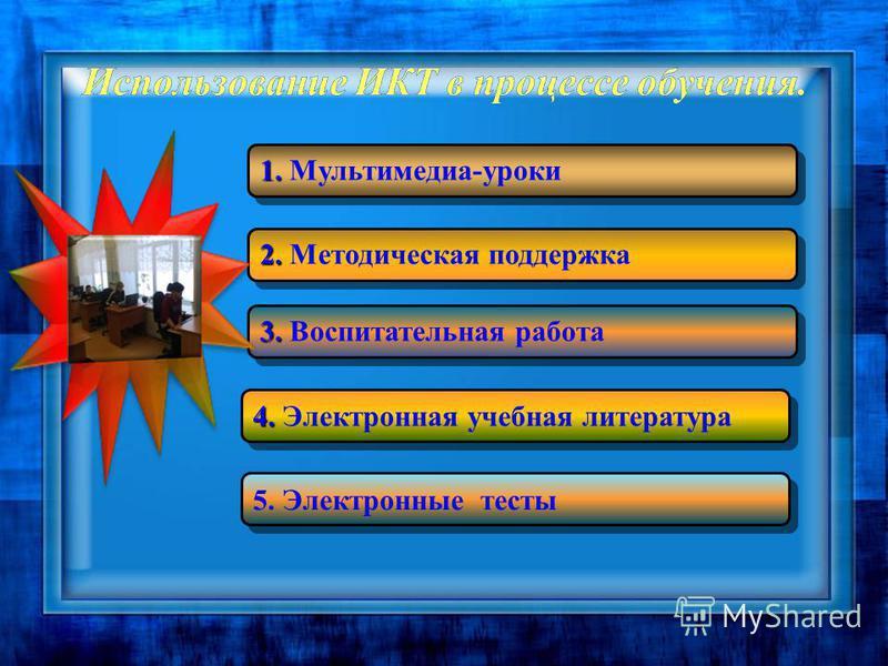 Использование ИКТ в процессе обучения. 1. 1. Мультимедиа-уроки 2. 2. Методическая поддержка 3. 3. Воспитательная работа 4. 4. Электронная учебная литература 5. Электронные тесты