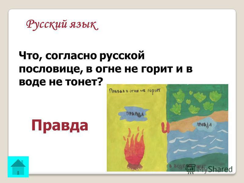 Русский язык Что, согласно русской пословице, в огне не горит и в воде не тонет? ОТВЕТ: Правда