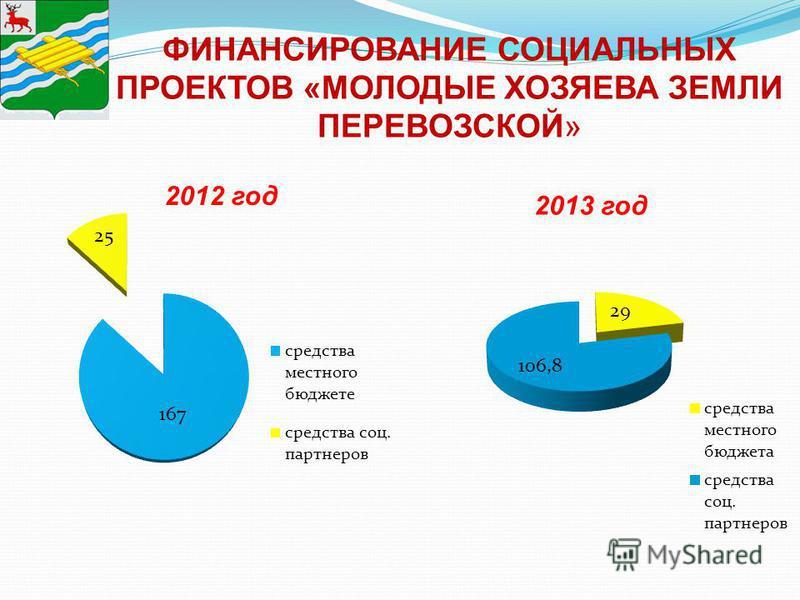 ФИНАНСИРОВАНИЕ СОЦИАЛЬНЫХ ПРОЕКТОВ «МОЛОДЫЕ ХОЗЯЕВА ЗЕМЛИ ПЕРЕВОЗСКОЙ» 2012 год