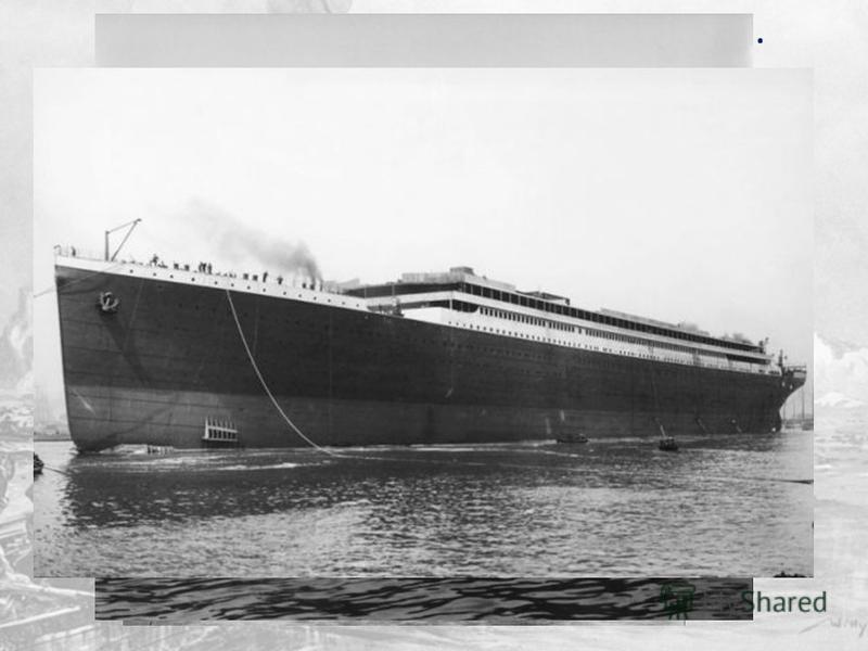 Процесс спуска на воду начинается. Титаник медленно погружает свой корпус в воду