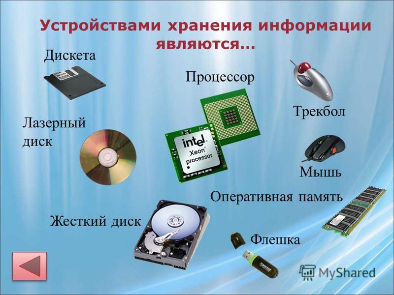 Устройствами хранения информации являются… Жесткий диск Процессор Оперативная память Дискета Лазерный диск Флешка Мышь Трекбол