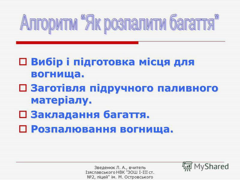 Зведенюк Л. А., вчитель Ізяславського НВК