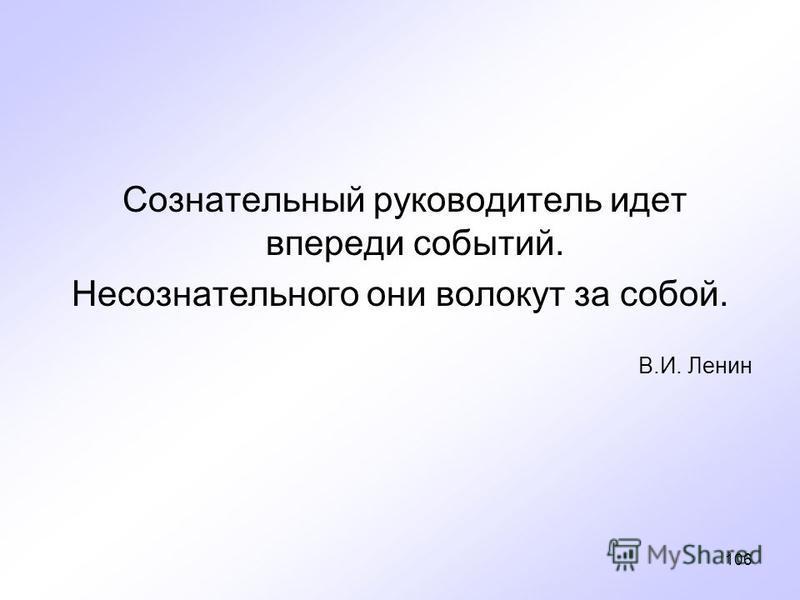 106 Сознательный руководитель идет впереди событий. Несознательного они волокут за собой. В.И. Ленин