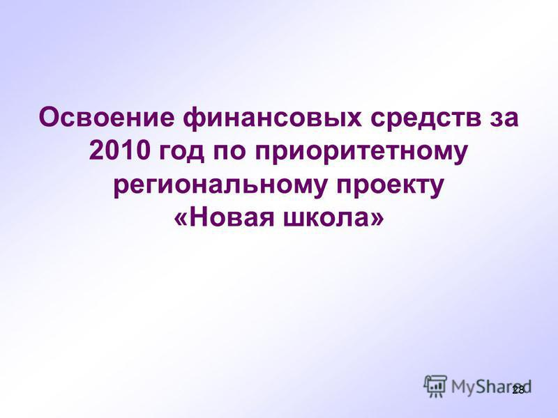 28 Освоение финансовых средств за 2010 год по приоритетному региональному проекту «Новммая школа»