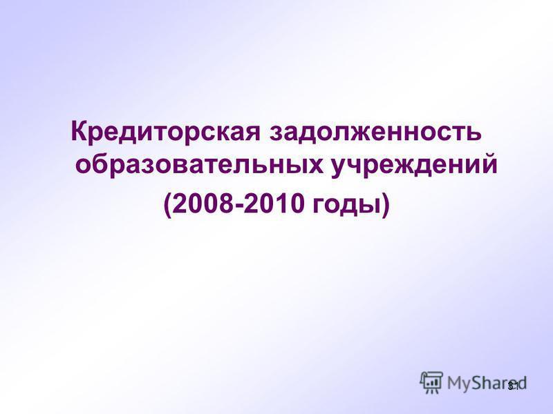 31 Кредиторскммая задолженность образовательных учреждений (2008-2010 годы)