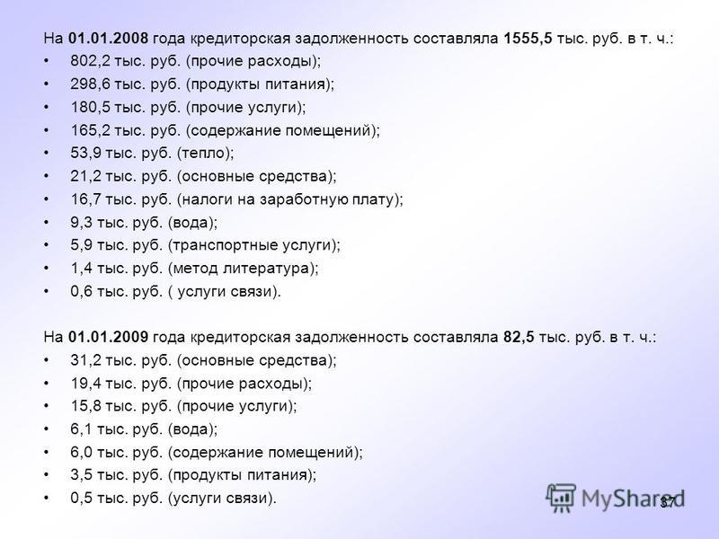 37 На 01.01.2008 года кредиторскммая задолженность составляла 1555,5 тыс. руб. в т. ч.: 802,2 тыс. руб. (прочие расходы); 298,6 тыс. руб. (продукты питания); 180,5 тыс. руб. (прочие услуги); 165,2 тыс. руб. (содержание помещений); 53,9 тыс. руб. (теп