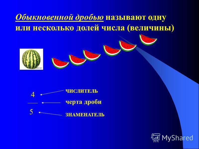 Обыкновенной дробью называют одну или несколько долей числа (величины) ____ черта дроби 4 ЧИСЛИТЕЛЬ 5 ЗНАМЕНАТЕЛЬ