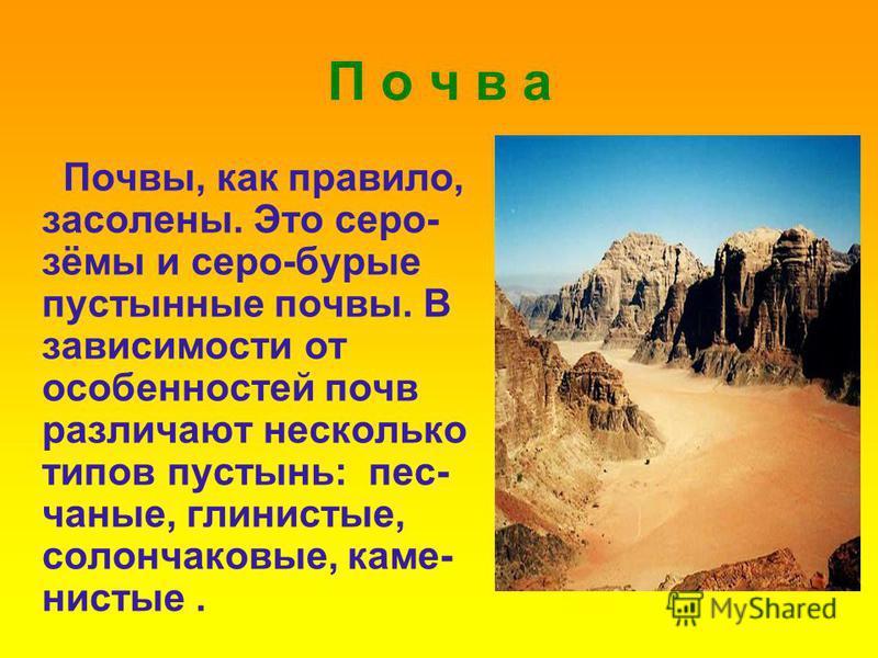 П о ч в а Почвы, как правило, засолены. Это серо- зимы и серо-бурые пустынные почвы. В зависимости от особенностей почв различают несколько типов пустынь: песчаные, глинистые, солончаковые, каменистые.