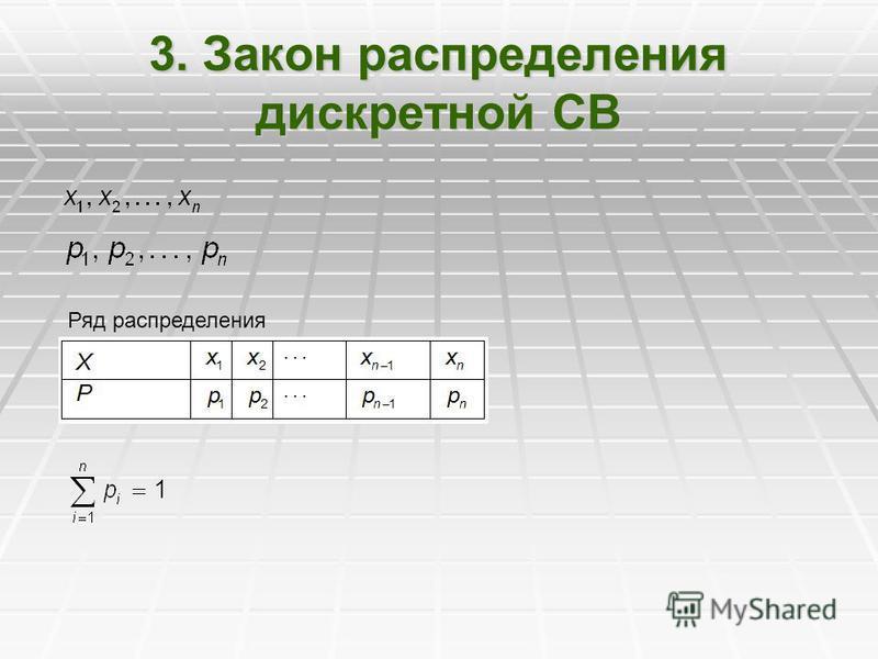 3. Закон распределения дискретной СВ Ряд распределения