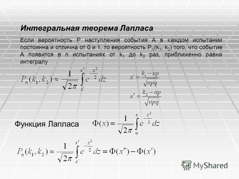 Интегральная теорема Лапласа Если вероятность Р наступления события А в каждом испытании постоянна и отлична от 0 и 1, то вероятность P n (k 1, k 2 ) того, что событие А появится в n испытаниях от k 1 до k 2 раз, приближенно равна интегралу Функция Л
