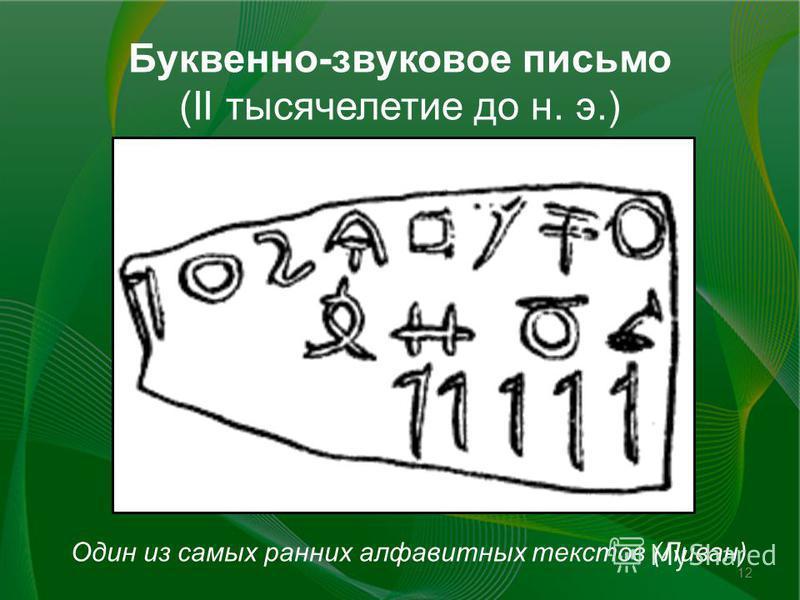 Буквенно-звуковое письмо (II тысячелетие до н. э.) 12 Один из самых ранних алфавитных текстов (Ливан)
