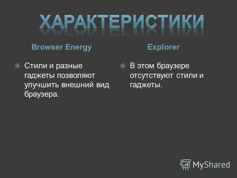 Browser Energy Стили и разные гаджеты позволяют улучшить внешний вид браузера. Explorer В этом браузере отсутствуют стили и гаджеты.