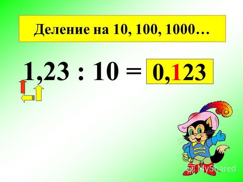 Деление на 10, 100, 1000… 1,23 : 10 = 0,123