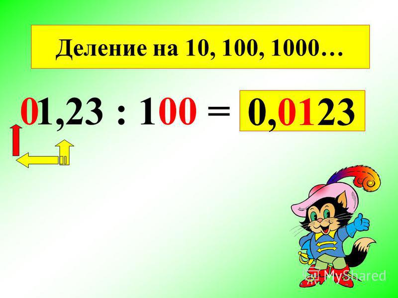 1,23 : 100 = 0,0123 0 Деление на 10, 100, 1000…