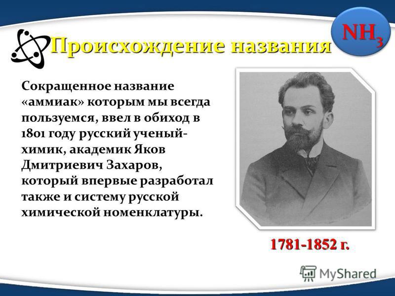Сокращенное название «аммиак» которым мы всегда пользуемся, ввел в обиход в 1801 году русский ученый- химик, академик Яков Дмитриевич Захаров, который впервые разработал также и систему русской химической номенклатуры. 1781-1852 г. NH 3 Происхождение