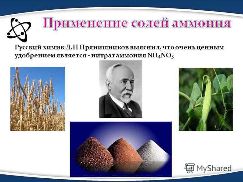 Русский химик Д.Н Прянишников выяснил, что очень ценным удобрением является - нитрат аммония NH 4 NO 3 Азотные удобрения