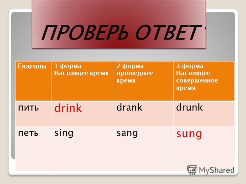 ЗАПОЛНИ САМ Глаголы 1 форма Настоящее время 2 форма прошедшее время 3 форма Настоящее совершенное время пить drink петь sung ЗАПОЛНИ САМ