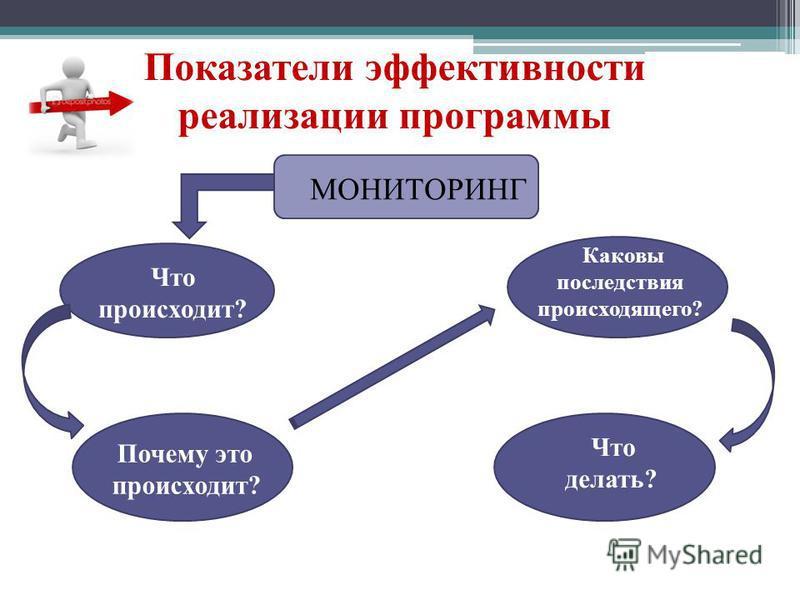 Показатели эффективности реализации программы МОНИТОРИНГ Что происходит? Каковы последствия происходящего? Почему это происходит? Что делать?
