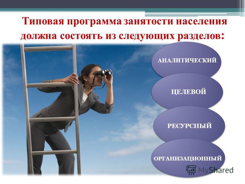 Типовая программа занятости населения должна состоять из следующих разделов : АНАЛИТИЧЕСКИЙ ЦЕЛЕВОЙ РЕСУРСНЫЙ ОРГАНИЗАЦИОННЫЙ