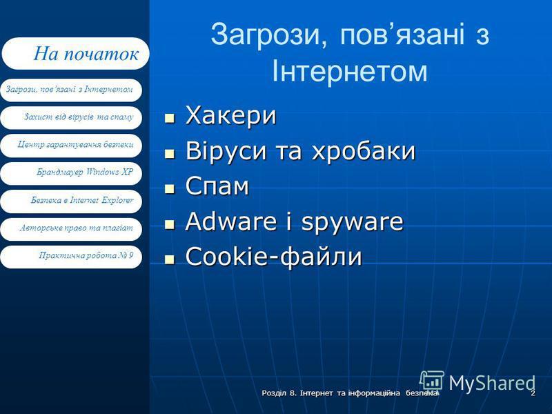 Захист від вірусів та спаму Центр гарантування безпеки Брандмауер Windows XP Загрози, повязані з Інтернетом На початок Безпека в Internet Explorer Авторське право та плагіат Практична робота 9 Розділ 8. Інтернет та інформаційна безпека 2 Хакери Хакер