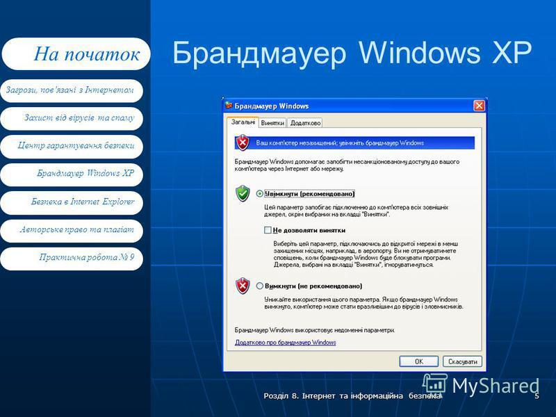 Захист від вірусів та спаму Центр гарантування безпеки Брандмауер Windows XP Загрози, повязані з Інтернетом На початок Безпека в Internet Explorer Авторське право та плагіат Практична робота 9 Розділ 8. Інтернет та інформаційна безпека 5 Брандмауер W