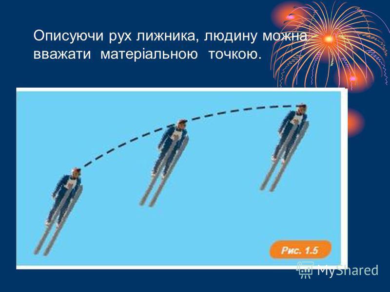 Описуючи рух лижника, людину можна вважати матеріальною точкою.
