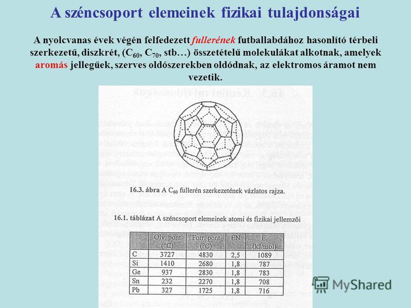 A széncsoport elemeinek fizikai tulajdonságai A nyolcvanas évek végén felfedezett fullerének futballabdához hasonlító térbeli szerkezetű, diszkrét, (C 60, C 70, stb…) összetételű molekulákat alkotnak, amelyek aromás jellegűek, szerves oldószerekben o
