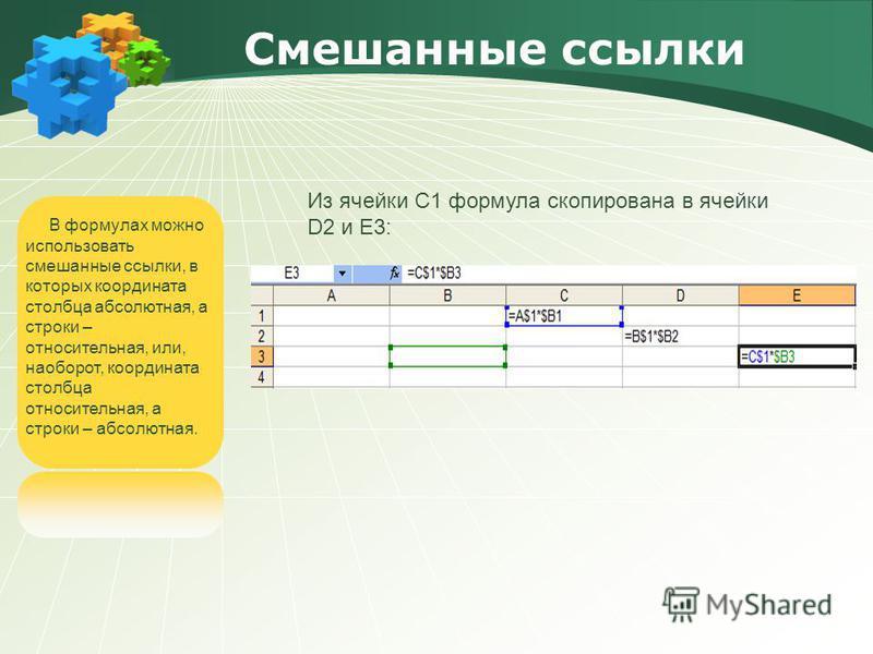 Смешанные ссылки В формулах можно использовать смешанные ссылки, в которых координата столбца абсолютная, а строки – относительная, или, наоборот, координата столбца относительная, а строки – абсолютная. Из ячейки С1 формула скопирована в ячейки D2 и