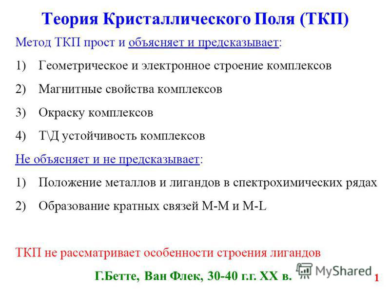 1 Теория Кристаллического Поля (ТКП) Г.Бетте, Ван Флек, 30-40 г.г. XX в.