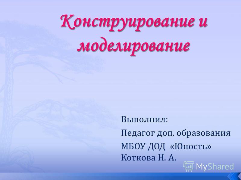 Выполнил: Педагог доп. образования МБОУ ДОД «Юность» Коткова Н. А.