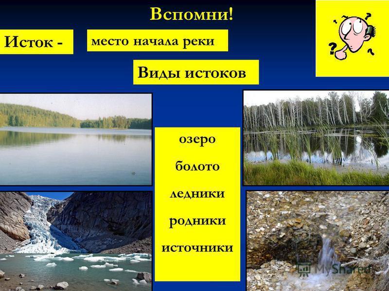 Вспомни! Исток - место начала реки Виды истоков озеро болото ледники родники источники