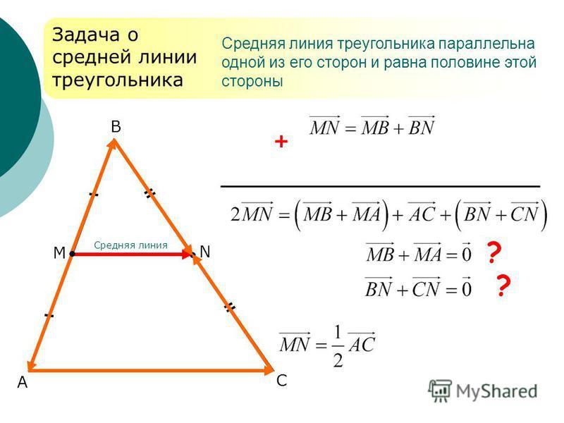 А В С Задача о средней линии треугольника + ? Средняя линия треугольника параллельна одной из его сторон и равна половине этой стороны М N Средняя линия ?