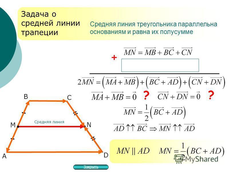 А В D Задача о средней линии трапеции + ? Средняя линия треугольника параллельна основаниям и равна их полусумме М N Средняя линия ? С Закрыть